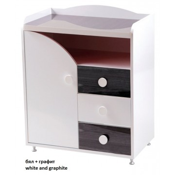 Baby Room Dresser with a Shelf and Three Drawers Gloss