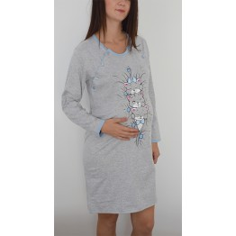 Maternity Blue Stripe Long Sleeve Nightwear Dress