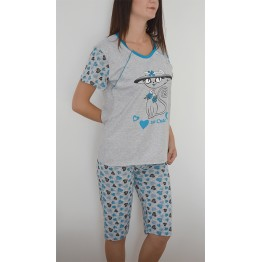 Maternity Grey Blue Short Sleeve Pyjama Set