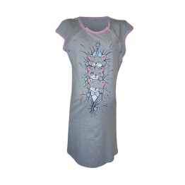 Maternity Grey Pink Short Sleeve Nightwear Dress