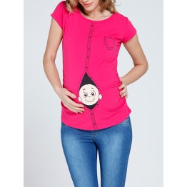 Maternity Cyclamen Zipped Baby Stamp Shirt