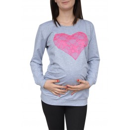 Maternity Grey Pink Lace Heart Top