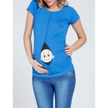 Maternity Blue Zipped Baby Stamp Shirt