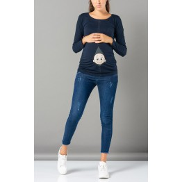 Maternity Dark Blue Zipped Baby Stamp Shirt