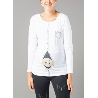 Maternity White Long Sleeve Zipped Baby Stamp Shirt