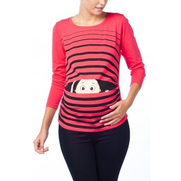 Maternity Watermelon Long Sleeve Peep Baby Stamp Shirt