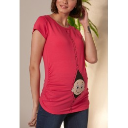 Maternity Watermelon Zipped Baby Stamp Shirt