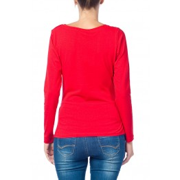 Maternity Red Long Sleeve Peep Baby Stamp Shirt