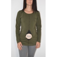 Maternity Khaki Zipped Baby Stamp Shirt