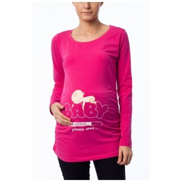 Maternity Cyclamen Long Sleeve Baby Loading Stamp Shirt