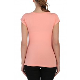 Maternity Creamy Colour Zipped Baby Stamp Shirt