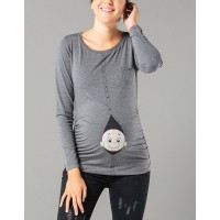 Maternity Long Sleeve Dark Grey Zipped Baby Stamp Shirt