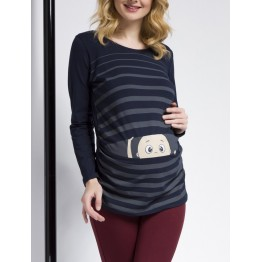Maternity Black Long Sleeve Peep baby Stamp Shirt