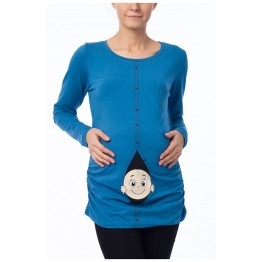 Maternity Blue Long Sleeve Zipped Baby Stamp Shirt