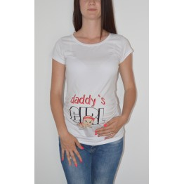 Maternity White Short Sleeve Daddy`s Girl Stamp Shirt