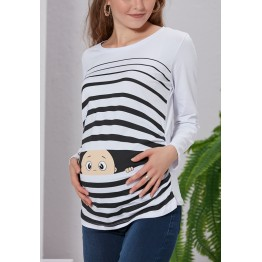Maternity White Long Sleeve Peep Baby Stamp Shirt