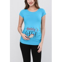 Maternity Turquoise Short Sleeve Daddy`s Girl Stamp Shirt