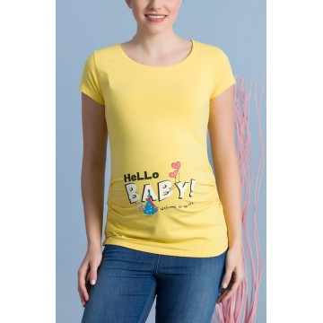 Maternity Short Sleeve Yellow Hello Baby Stamp Shirt