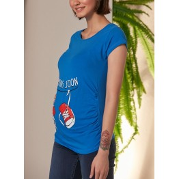 Maternity Blue Coming Soon Baby Stamp Shirt