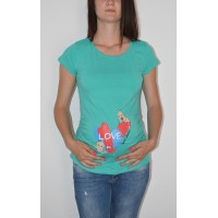 Maternity Menta Short Sleeve Love Stamp Shirt