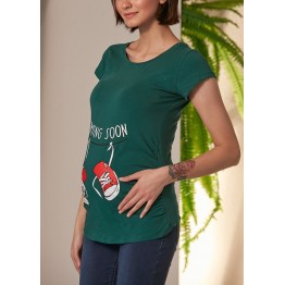 Maternity Green Short Sleeve Coming Soon Stamp Shirt