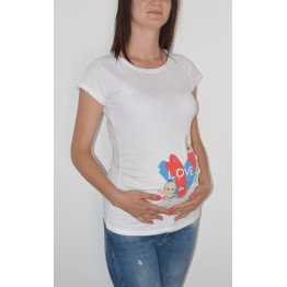 Maternity White Love Babies Stamp Shirt