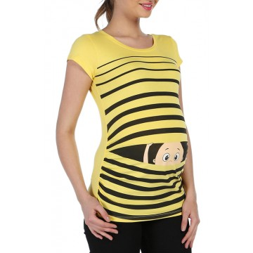 Maternity Yellow Peep Baby Stamp Shirt