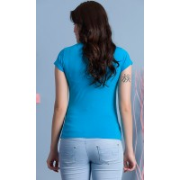 Maternity Light Blue Holiday Time Stamp Shirt