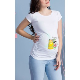 Maternity White Short Sleeve Holiday Time Stamp Shirt