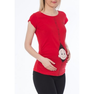 Maternity Red Short Sleeve Zipped Baby Stamp Shirt