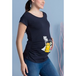Maternity Dark Blue Short Sleeve Holiday Time Stamp Shirt