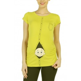 Maternity Yellow Zipped Baby Stamp Shirt