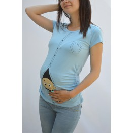 Maternity Milky Blue Zipped Baby Stamp Shirt