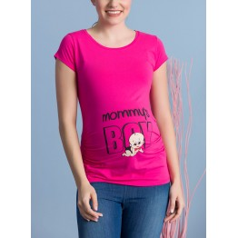 Maternity Cyclamen Short Sleeve Mommy`s Boy Stamp Shirt