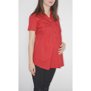 Maternity Dark Red Short Sleeve Shirt with Front Pockets