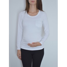 Maternity White Cotton Long Sleeve Pocket Front T-Shirt