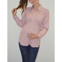Maternity White Long Sleeve Shirt with Red Stripes