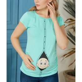 Maternity Grey Zipped Baby Stamp Shirt