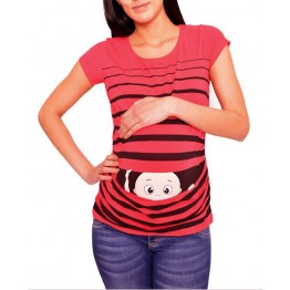 Maternity Red Short Sleeve Peep Baby Stamp Shirt