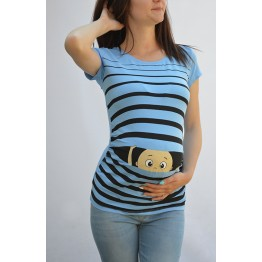 Maternity Milky Blue Peep Baby Stamp Shirt