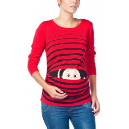Maternity Red Peep Baby Stamp Shirt
