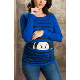 Maternity Blue Long Sleeve Peep Baby Stamp Shirt