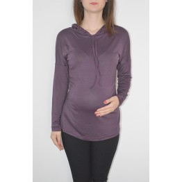 Maternity Dark Purple Long Sleeve Hoody