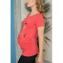 Maternity Coral Underknee Pinafore Dress