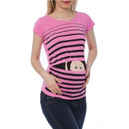 Maternity Light Pink Short Sleeve Peep Baby Stamp Shirt