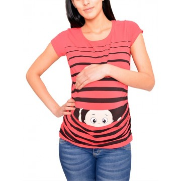 Maternity Watermelon Short Sleeve Hello Baby Stamp Shirt
