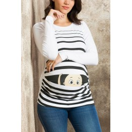 Maternity White Peep Baby Stamp Shirt