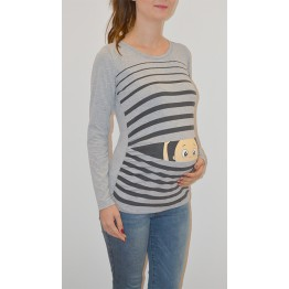 Maternity Grey Peep Baby Stamp Shirt
