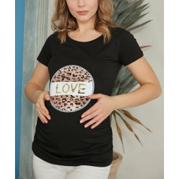 Maternity Black Top with Sequin Decoration