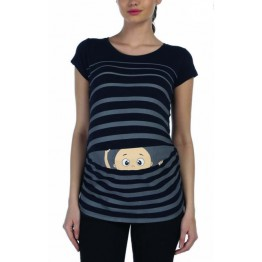 Maternity Black Peep Baby Stamp Shirt